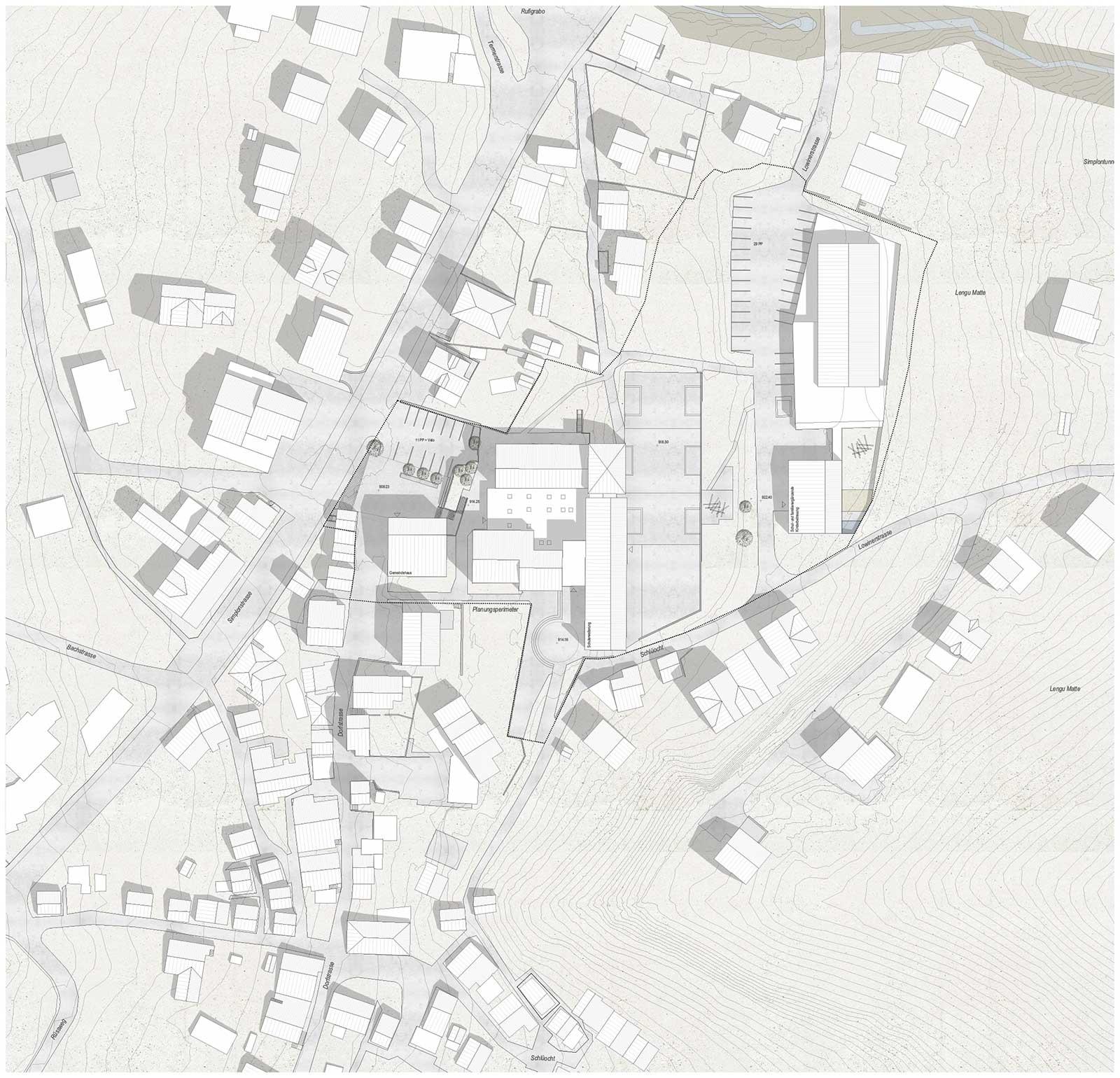 Situationsplan Offener einstufiger Projektwettbewerb Gemeindezentrum und Schulhauserweiterung Ried -Brig