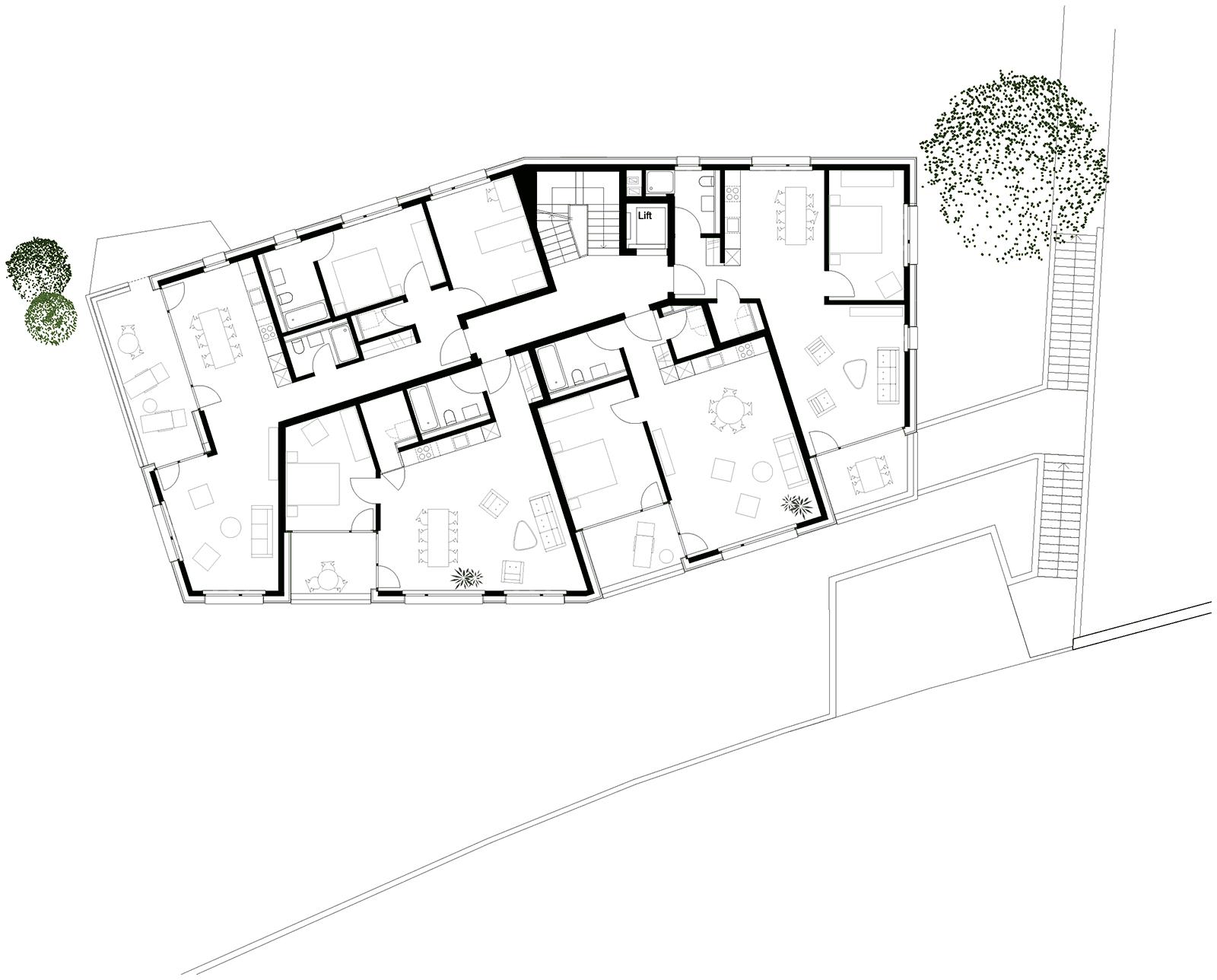 Grundriss Regelgeschoss Neubau Mehrfamilienhaus im Eichhölzli Biel/Bienne