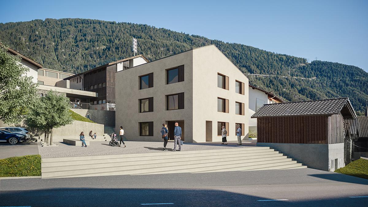 Visualisierung Gemeindezentrum Offener einstufiger Projektwettbewerb Gemeindezentrum und Schulhauserweiterung Ried -Brig
