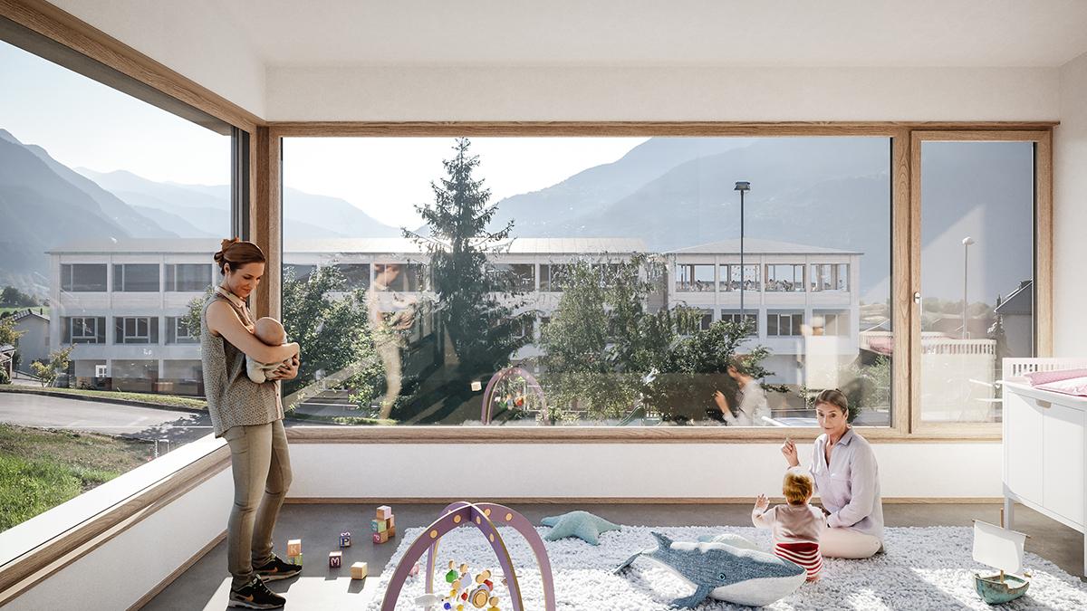Visualisierung Innenraum KITA Offener einstufiger Projektwettbewerb Gemeindezentrum und Schulhauserweiterung Ried -Brig