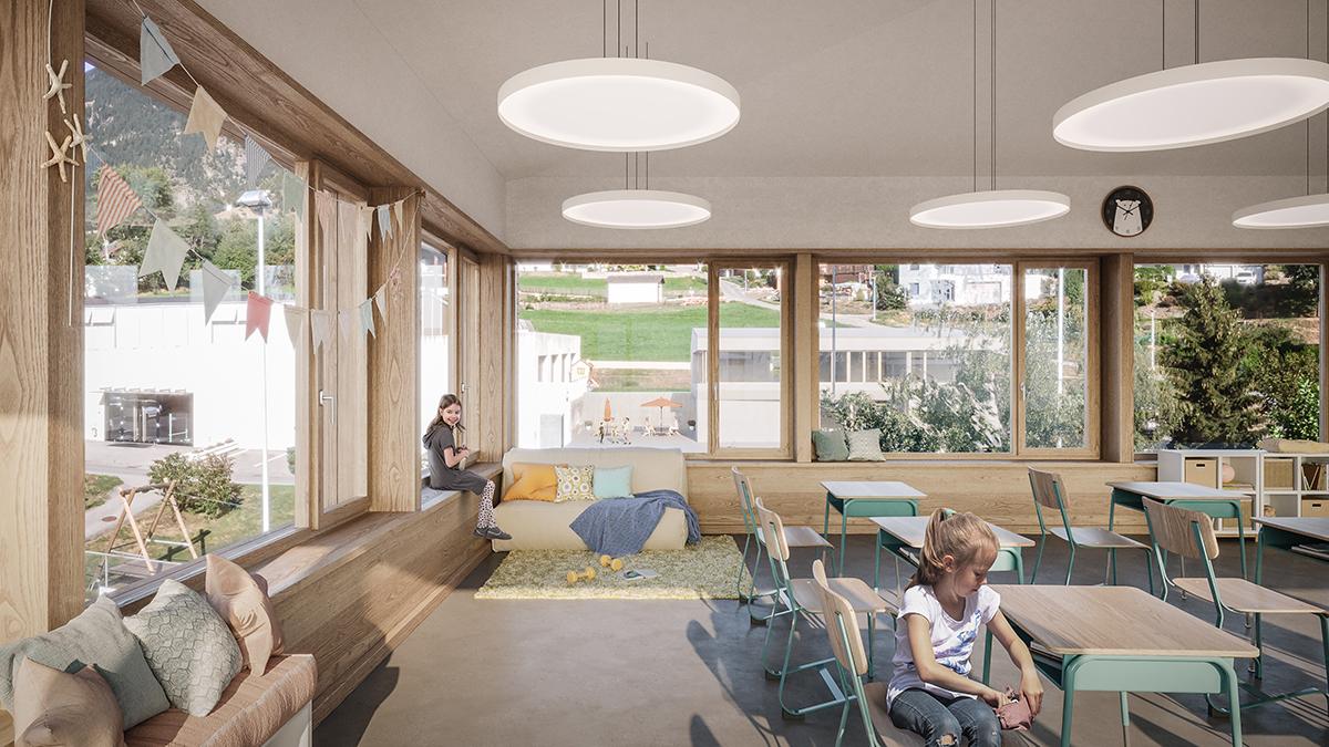 Visualisierung Innenraum Schulhauserweiterung Offener einstufiger Projektwettbewerb Gemeindezentrum und Schulhauserweiterung Ried -Brig