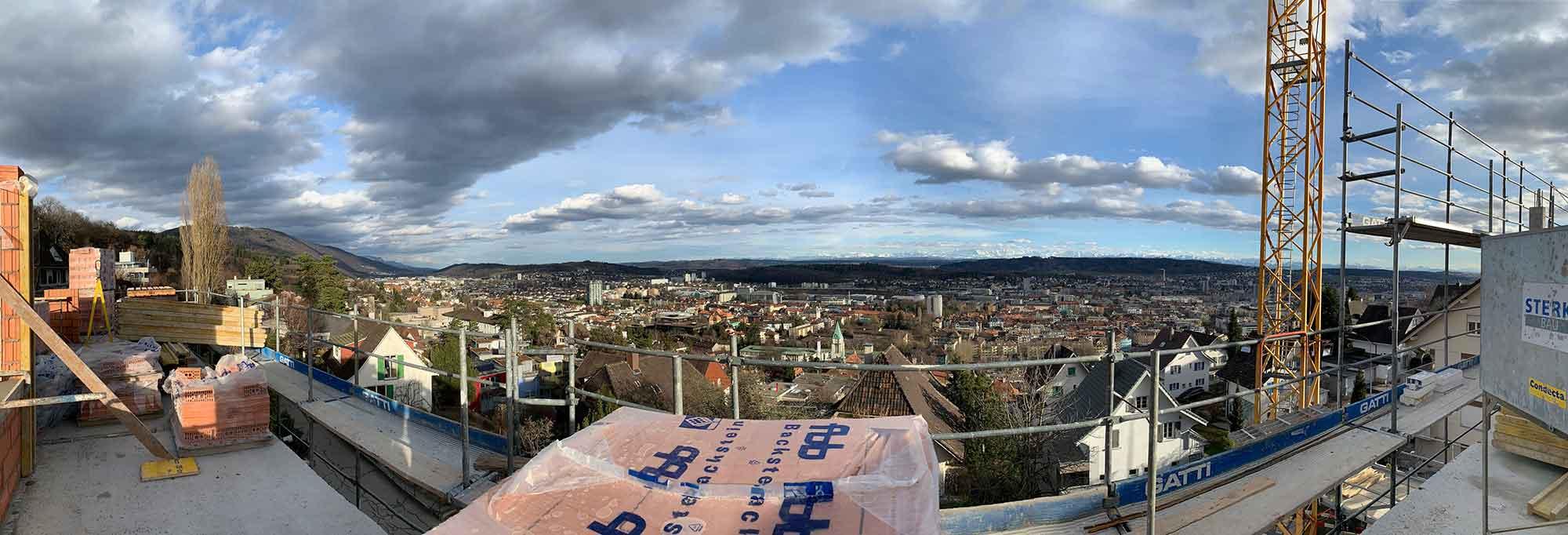 Bauplatz Aussicht Attika Neubau Mehrfamilienhaus im Eichhölzli Biel/Bienne