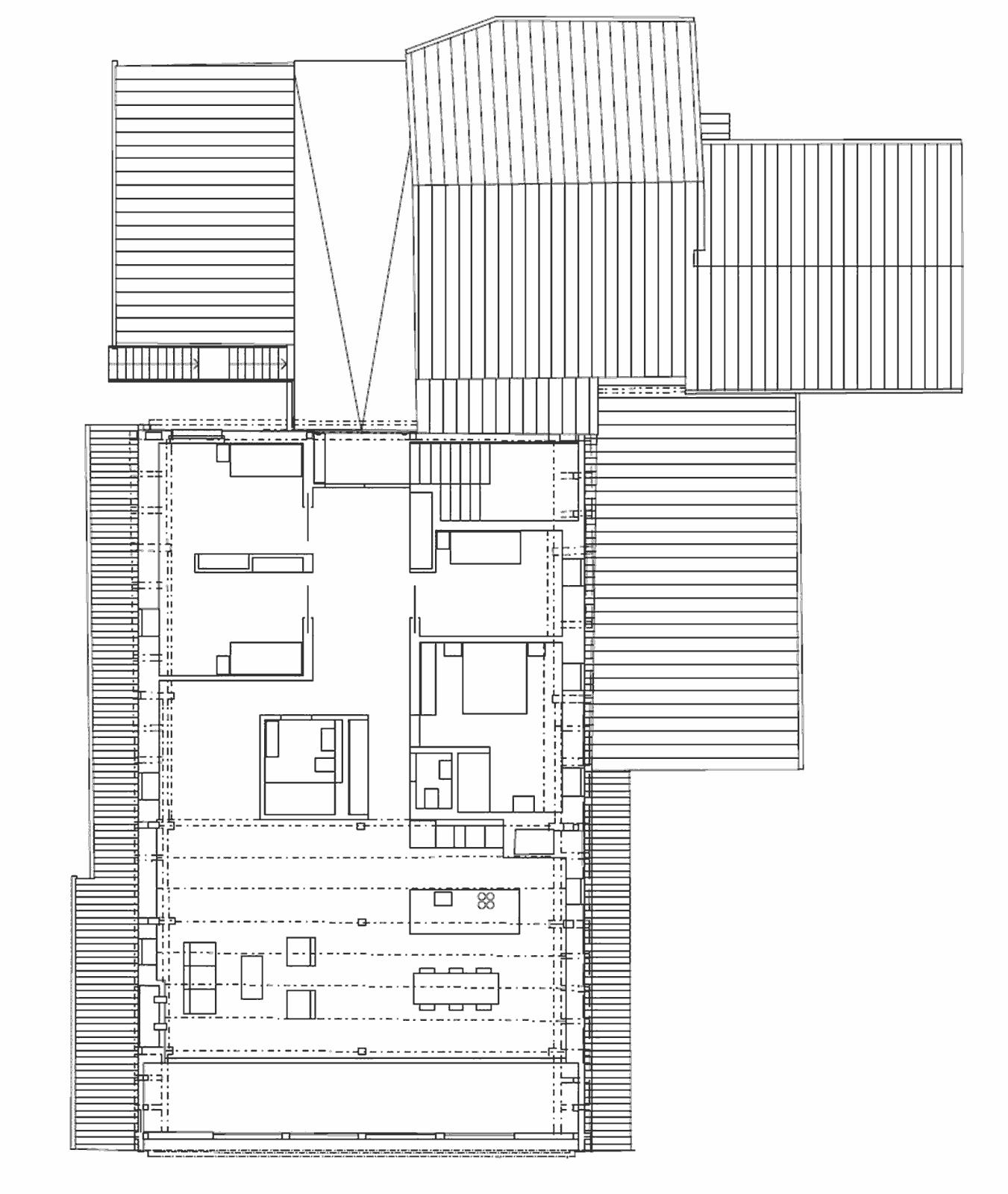 Grundriss Obergeschoss Umbau und Sanierung ehemaliges Bauernhaus Maison Blanche Evilard