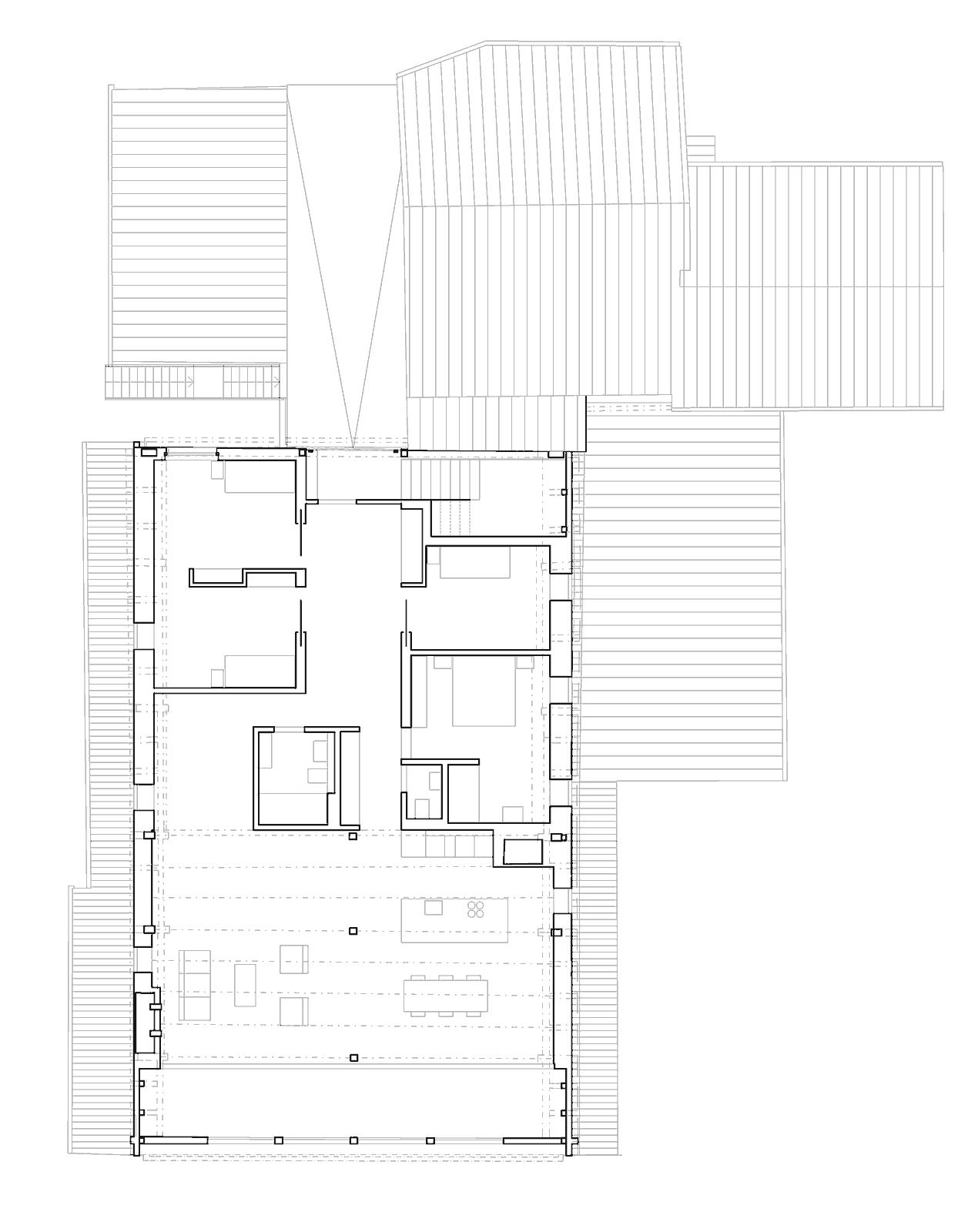 Grundriss Dachgeschoss Umbau und Sanierung ehemaliges Bauernhaus Maison Blanche Evilard