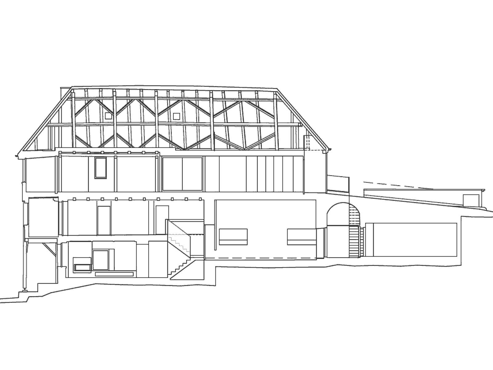 Längsschnitt Umbau und Sanierung ehemaliges Bauernhaus Maison Blanche Evilard