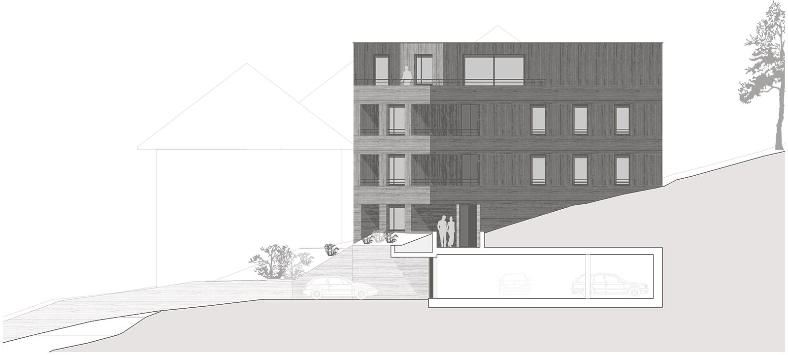 Ostfassade Neubau Mehrfamilienhaus im Eichhölzli Biel/Bienne