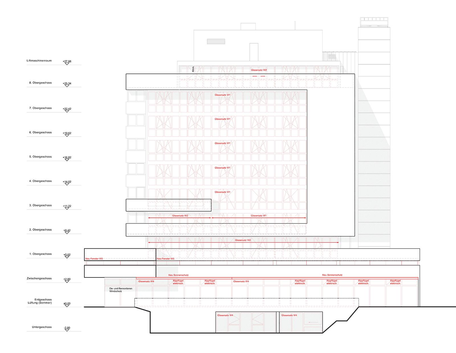 Ostfassade Sanierung und Erweiterung Alters- und Pflegeheim Redernweg Biel/Bienne