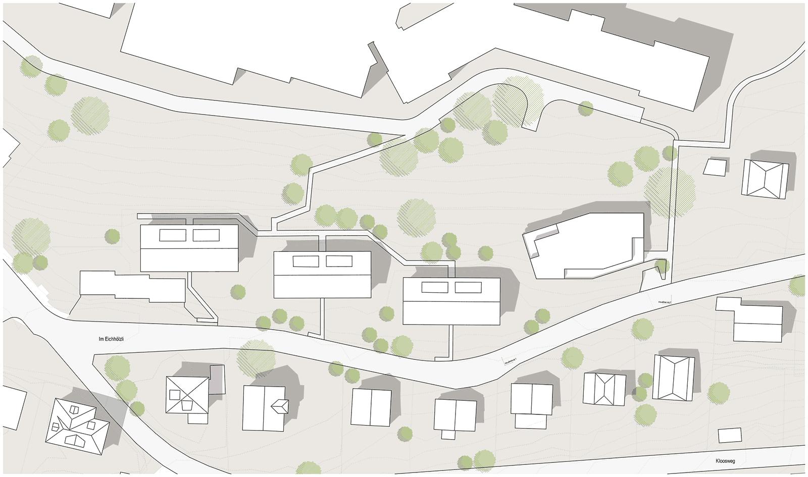 Situationsplan Neubau Mehrfamilienhaus im Eichhölzli Biel/Bienne
