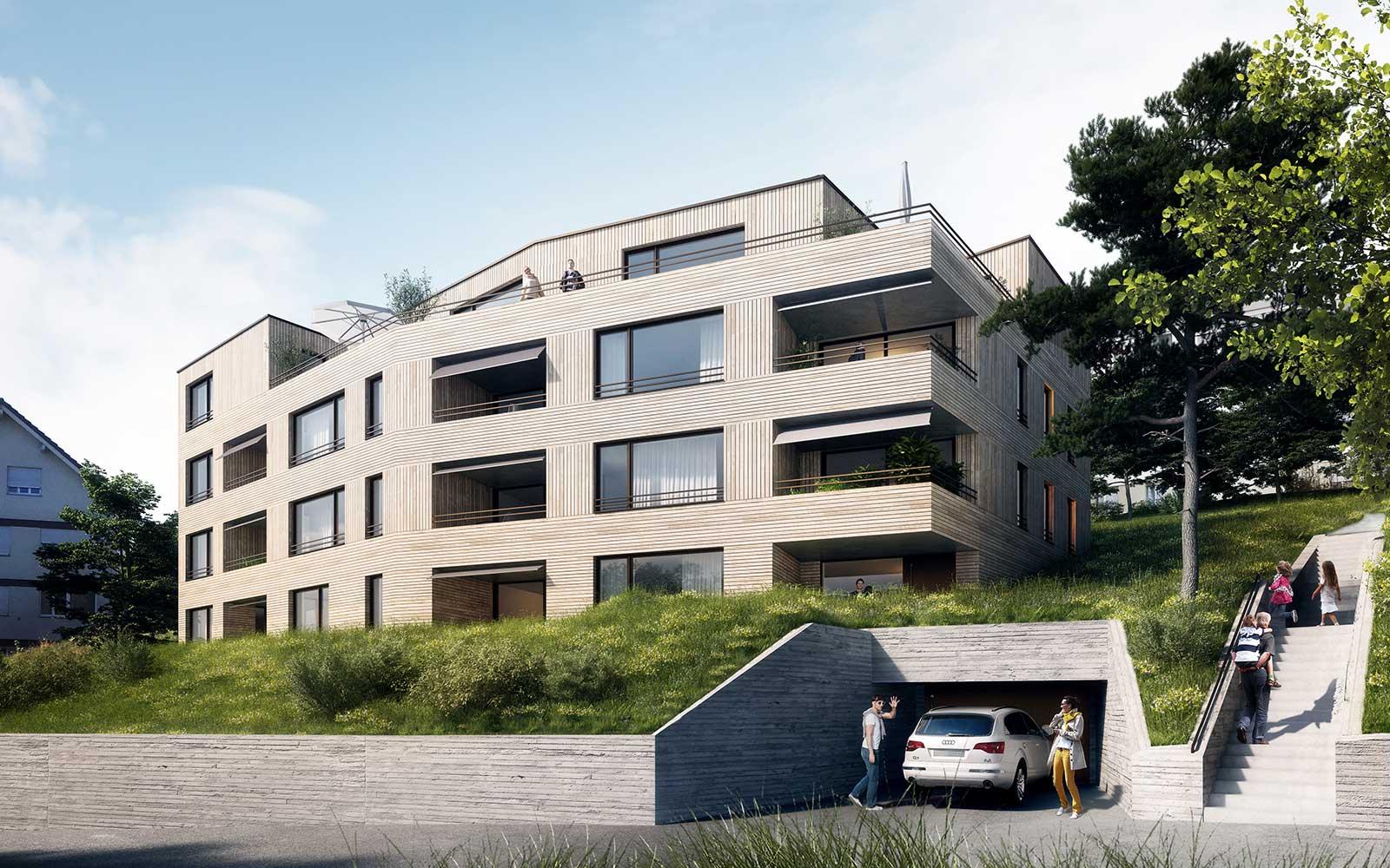 Visualisierung aussen Wettbewerb Neubau Mehrfamilienhaus im Eichhölzli Biel/Bienne