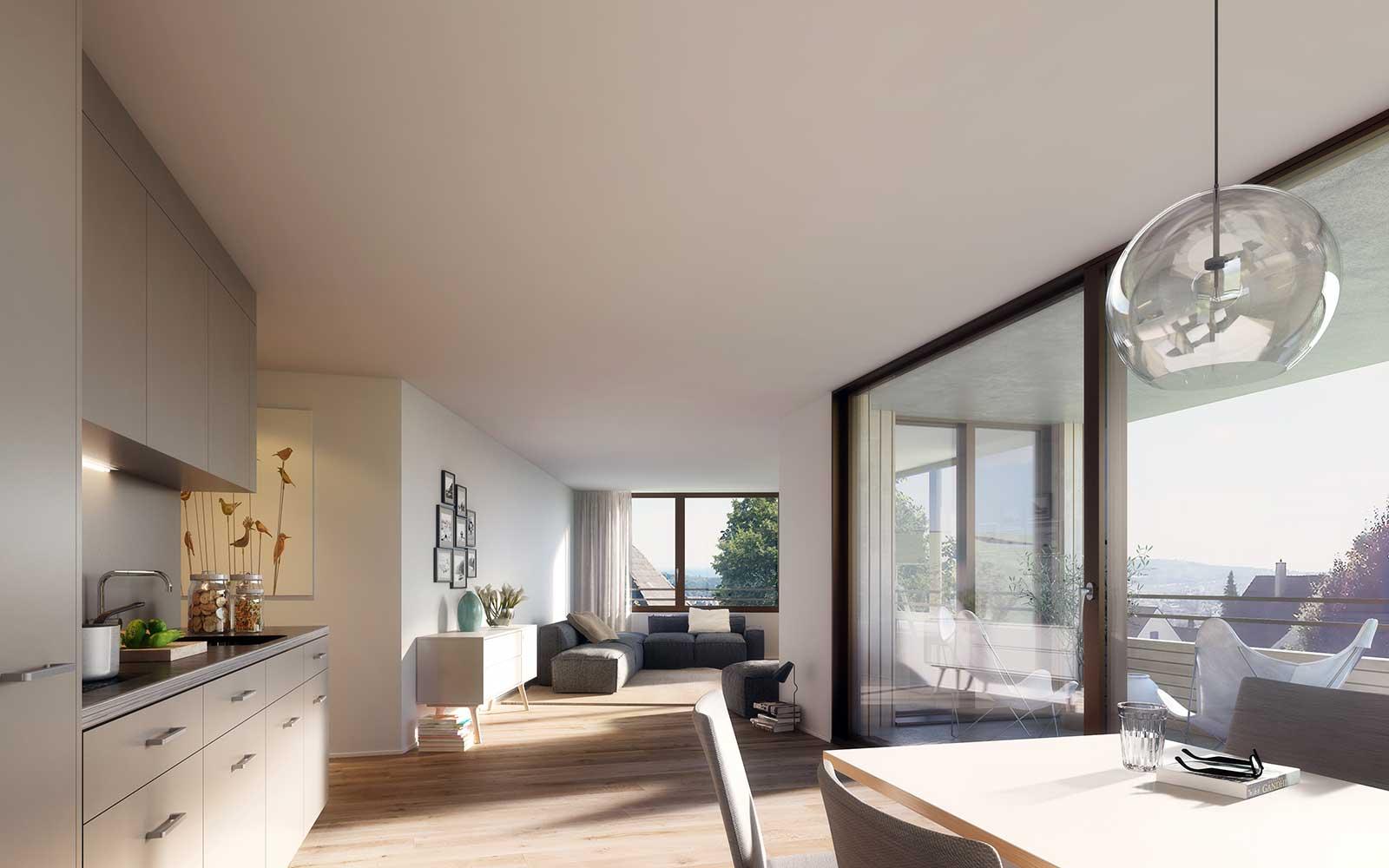 Visualisierung Wohnung West Wettbewerb Neubau Mehrfamilienhaus im Eichhölzli Biel/Bienne