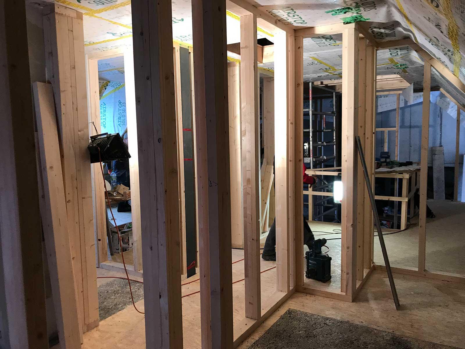 Baustellenfoto Ausbau Dachgeschoss, Holzständerbau