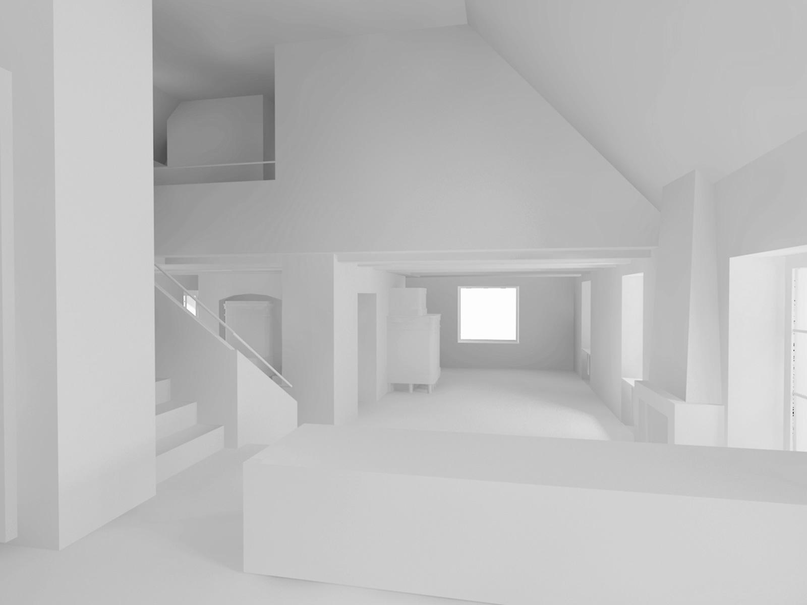 Visualisierung Wohngeschoss Wiederaufbau denkmalgeschützes ehemaliges Bauernhaus Hauptstrasse Magglinggen