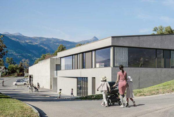 Visualisierung Schul- und Familienergänzende Kinderbetreuung und KITA Offener einstufiger Projektwettbewerb Gemeindezentrum und Schulhauserweiterung Ried -Brig