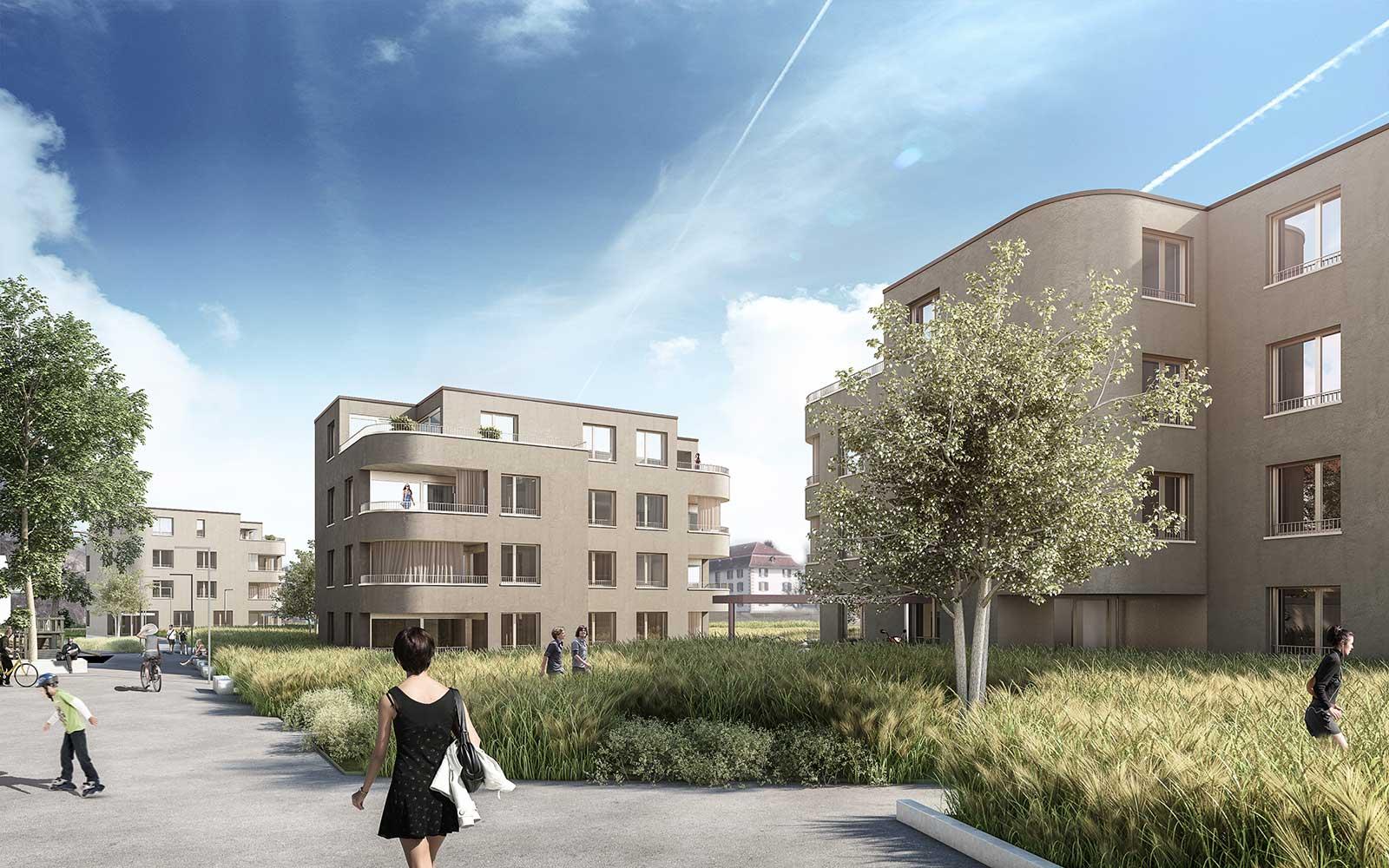 Visualisierung von Westen Neubau Wohnüberbauung Dorfzentrum Orpund Gottstatt