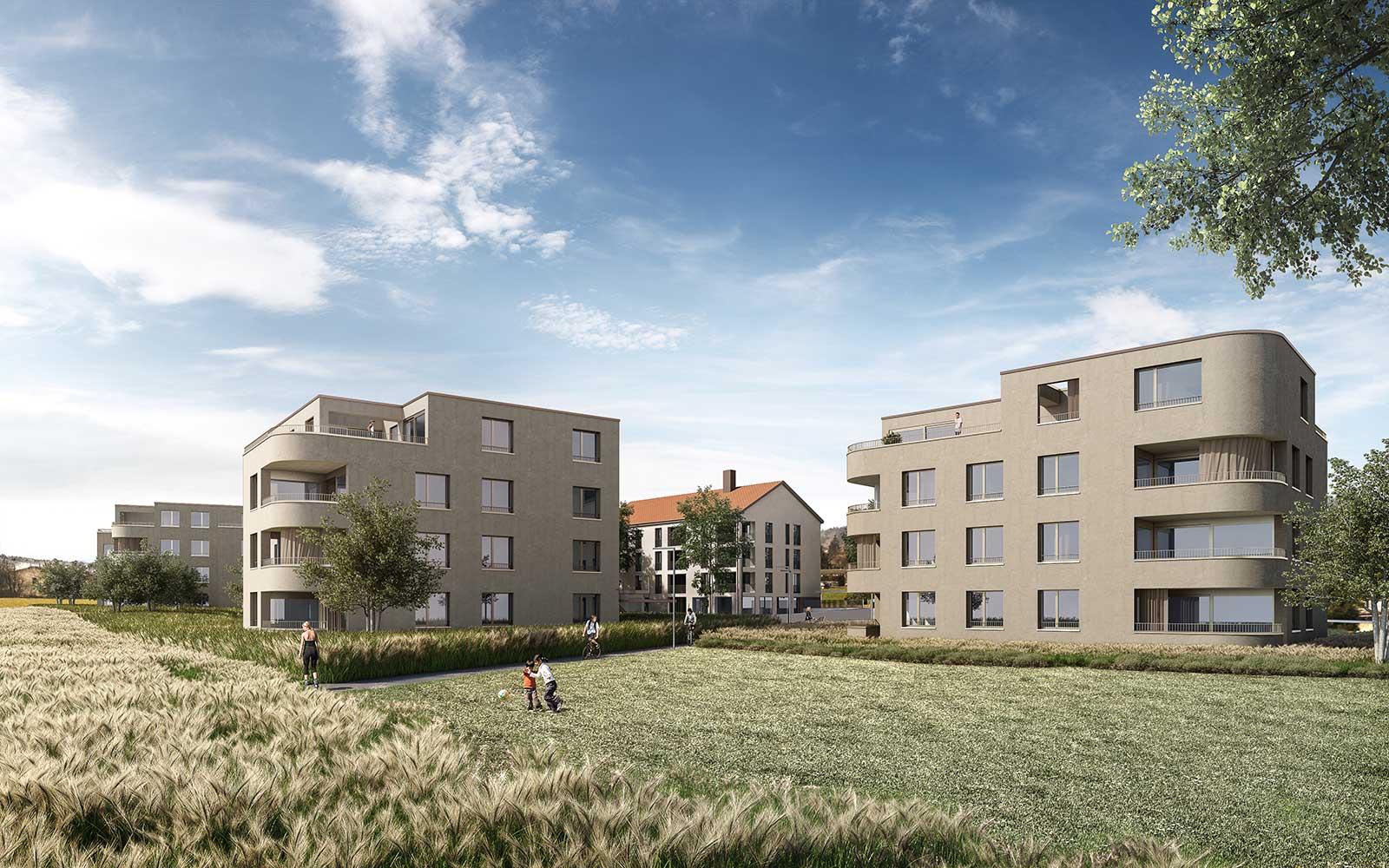 Visualisierung von Osten Neubau Wohnüberbauung Dorfzentrum Orpund Gottstatt