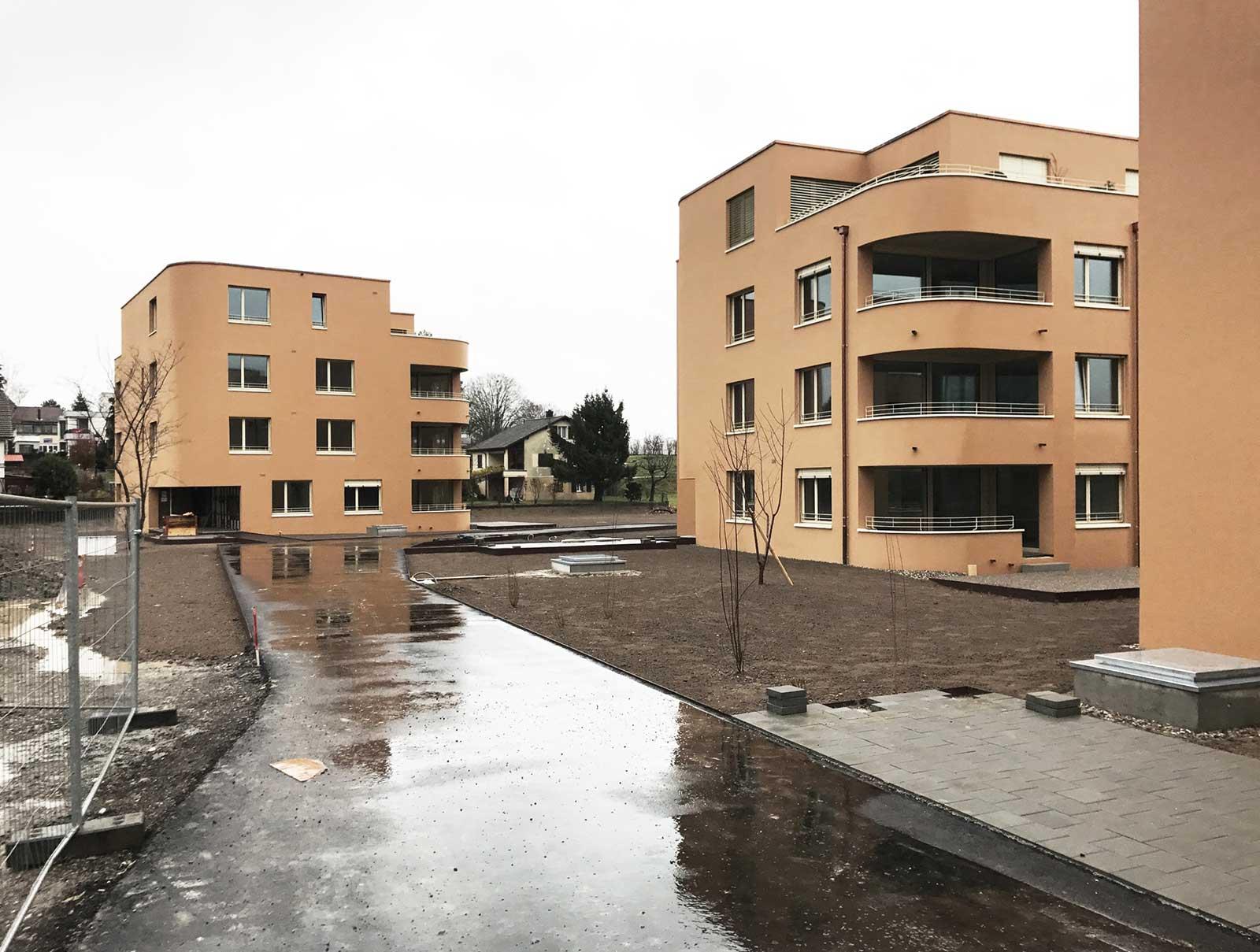 Bauplatz Punkthäuser A4 und A3 Neubau Wohnüberbauung Dorfzentrum Orpund Gottstatt