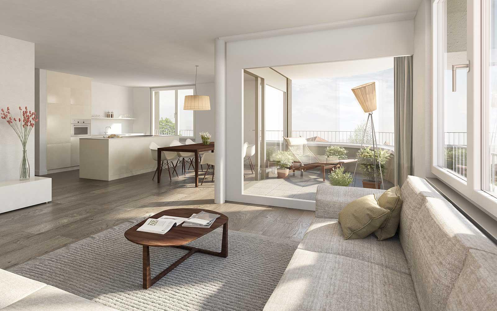 Visualisierung Wohnung Punkthäuser Neubau Wohnüberbauung Dorfzentrum Orpund Gottstatt