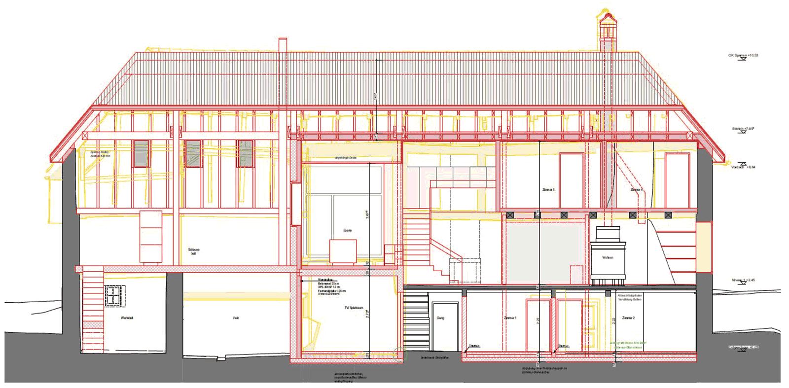 Längsschnitt Wiederaufbau denkmalgeschützes ehemaliges Bauernhaus Hauptstrasse Magglinggen