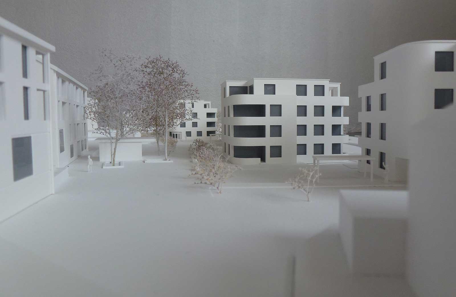Modellfoto Siedlungsraum Neubau Wohnüberbauung Dorfzentrum Orpund Gottstatt