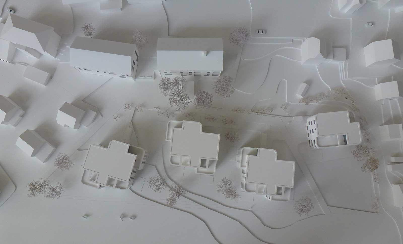 Modelfoto Vogelperspektive Neubau Wohnüberbauung Dorfzentrum Orpund Gottstatt