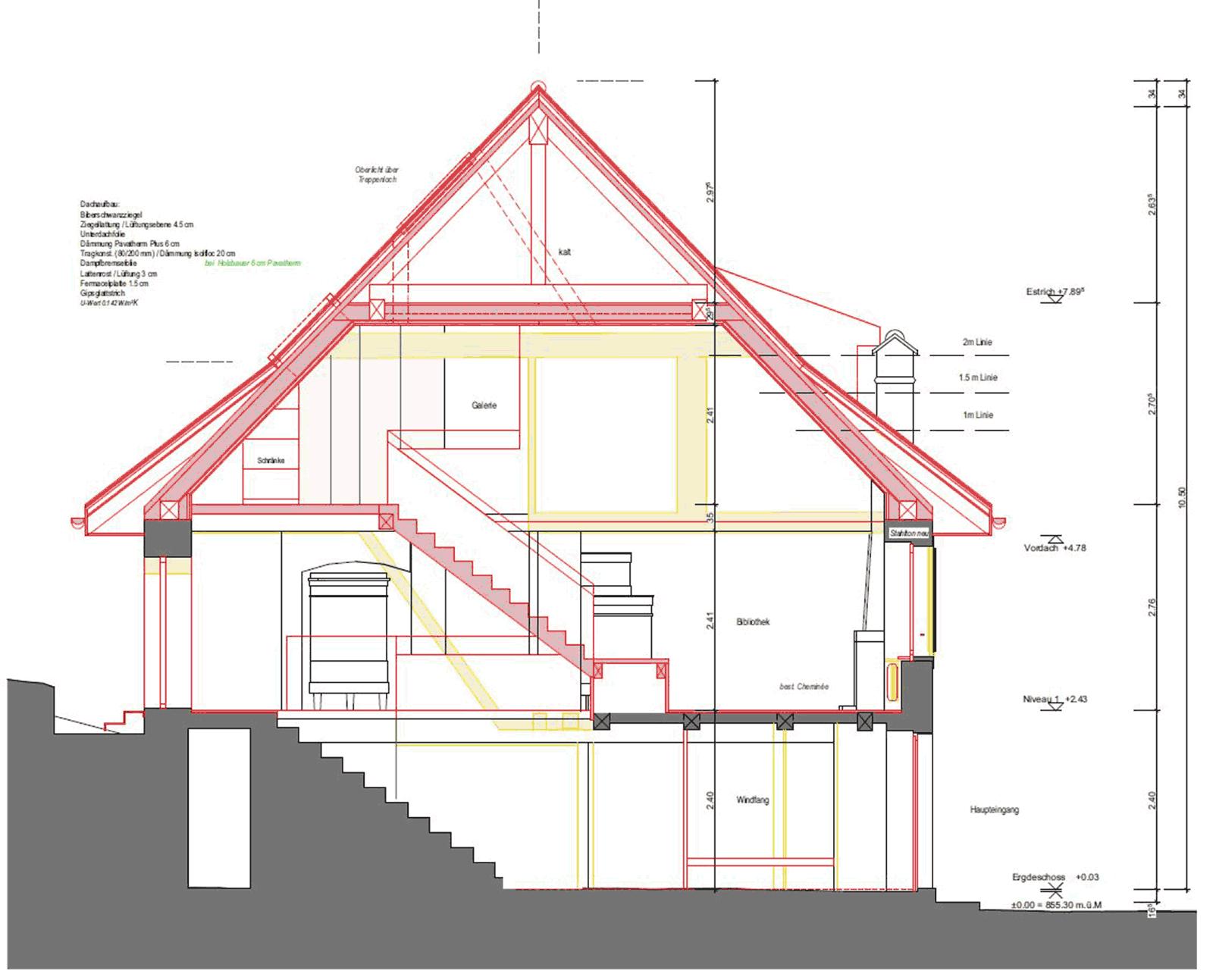 Querschnitt Wiederaufbau denkmalgeschützes ehemaliges Bauernhaus Hauptstrasse Magglinggen