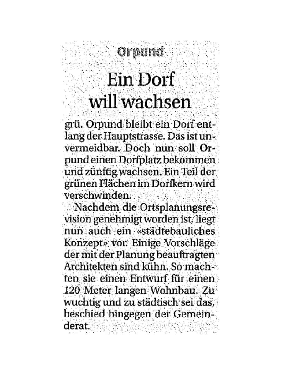 Zeitungsartikel Bieler Tagblatt 04.08.12 Neubau Wohnüberbauung Dorfzentrum Orpund Gottstatt