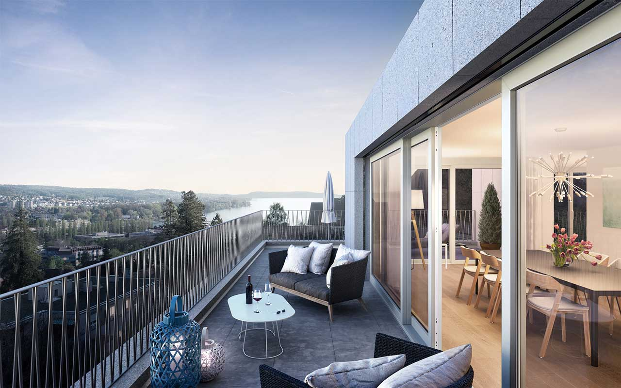 Visualisierung Attika Wohnüberbauung Höheweg