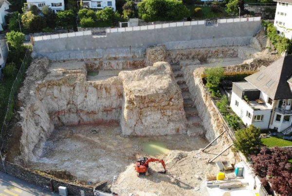 Fertigstellung Aushubarbeiten Wohnüberbauung Höheweg